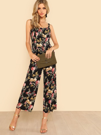 Botanical Print Lace Up Top & Wide Leg Pants Set