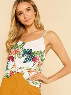 Tropical Print Knot Front Spaghetti Strap Top CREAM FUSCHIA