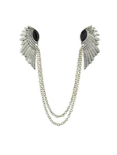 Sil-Black Rhinestone Angel Wing Necklace