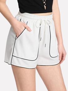 Contrast Tipping Drawstring Waist Shorts