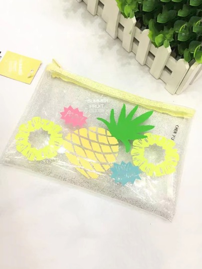 Fruit Print Glitter Transparent Pouch Bag