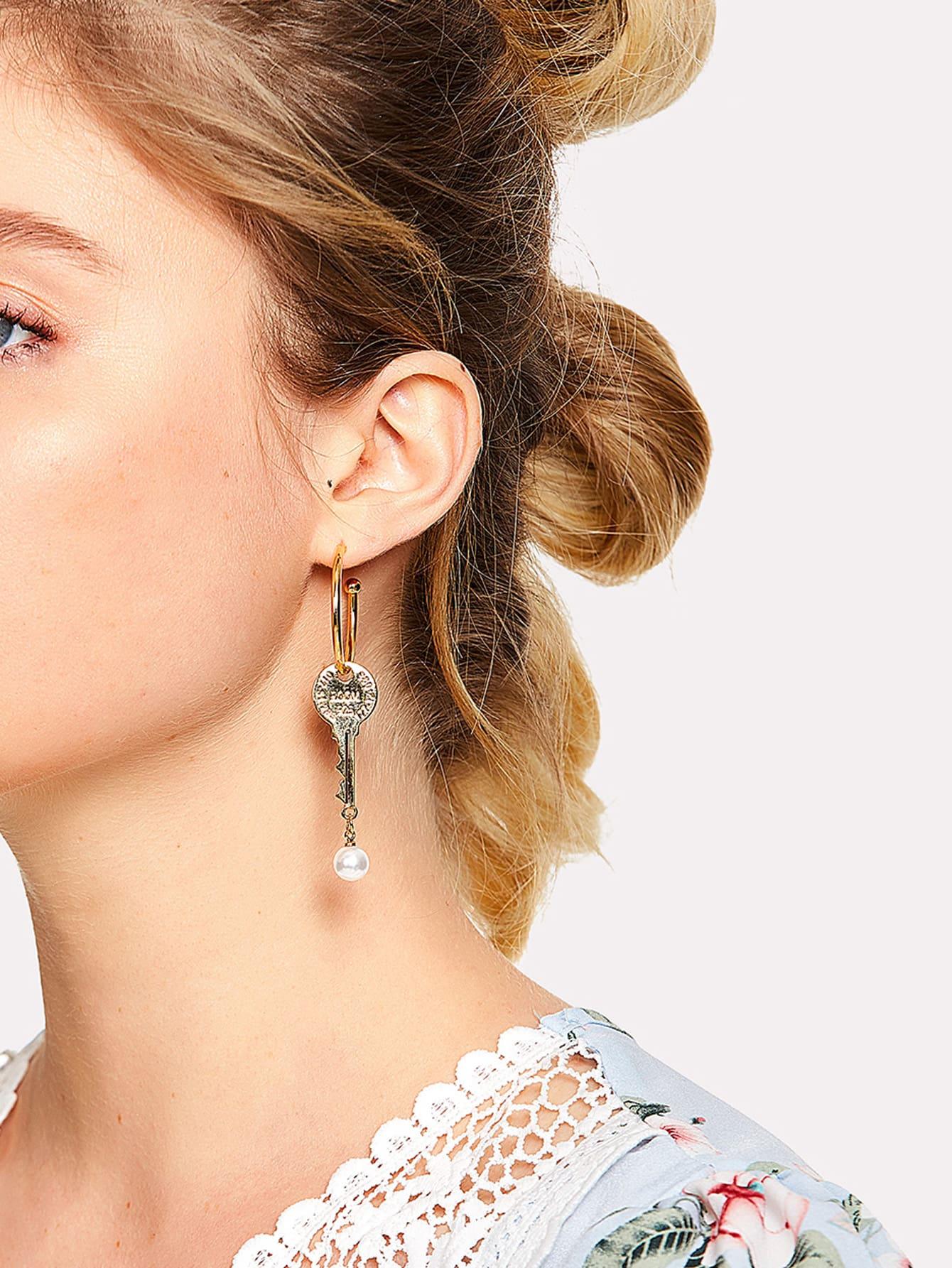 Hoop Earrings With Detachable Key contrast hoop earrings with turquoise