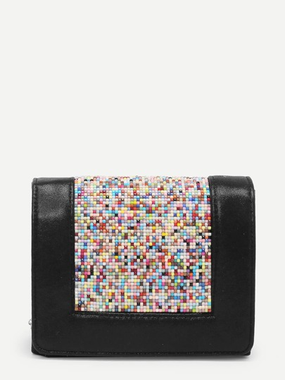 Contrast Flap Clutch Bag With Chain