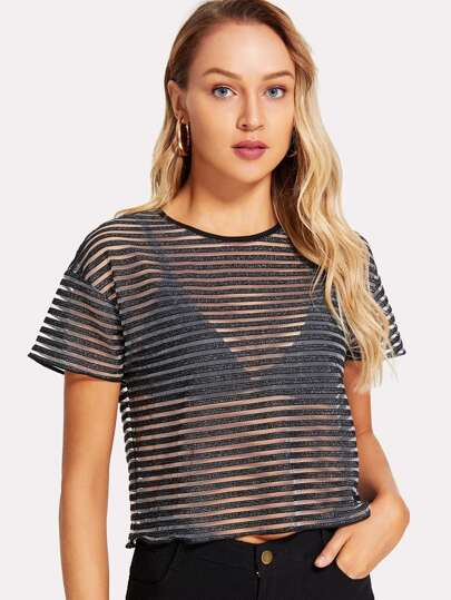 Glitter Striped Mesh Crop Top
