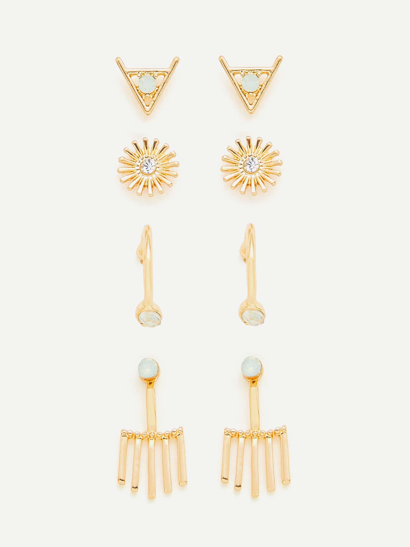 Rhinestone Detail Retro Earring Set er 3789 stylish retro jewelled pendant earring navy blue 2 pcs
