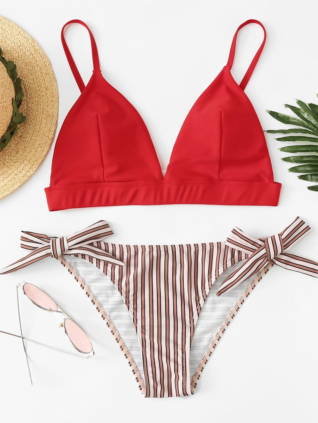 Фото Mix And Match Striped Bikini Set checker knot bikini set