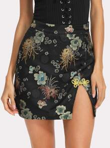 Frog Button Floral Bodycon Skirt
