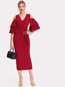 Open Shoulder Tiered Sleeve Surplice Dress