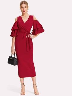 Open Shoulder Tiered Sleeve Surplice Dress