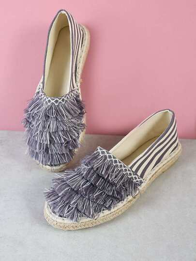 Fringe Detailed Stripe Espadrille Flat GREY WHITE