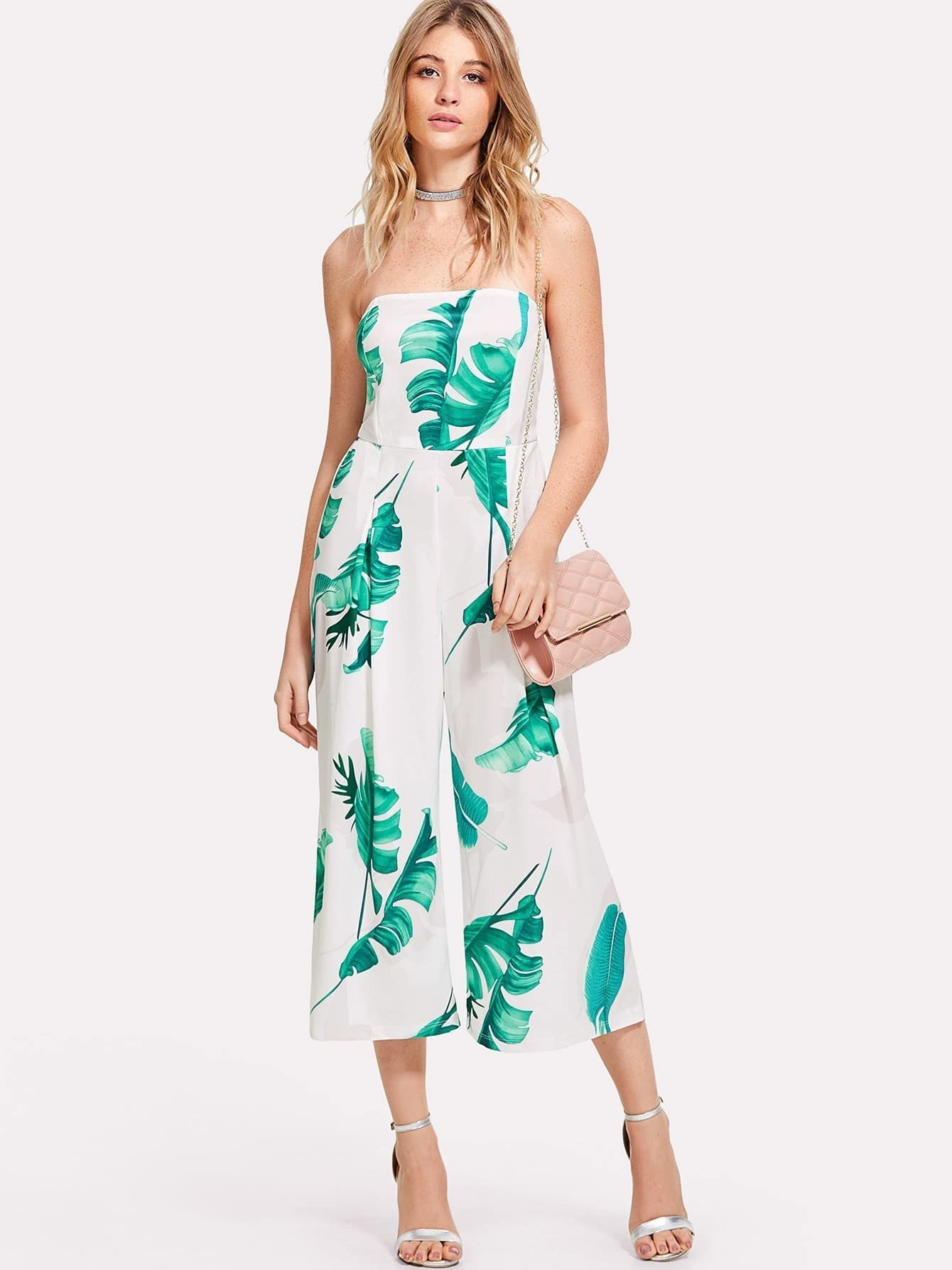 Palm Leaf Print Tube Jumpsuit wide leg leaf print tube jumpsuit