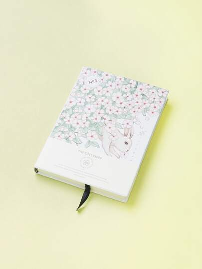 Flower & Rabbit Print Cover Notebook