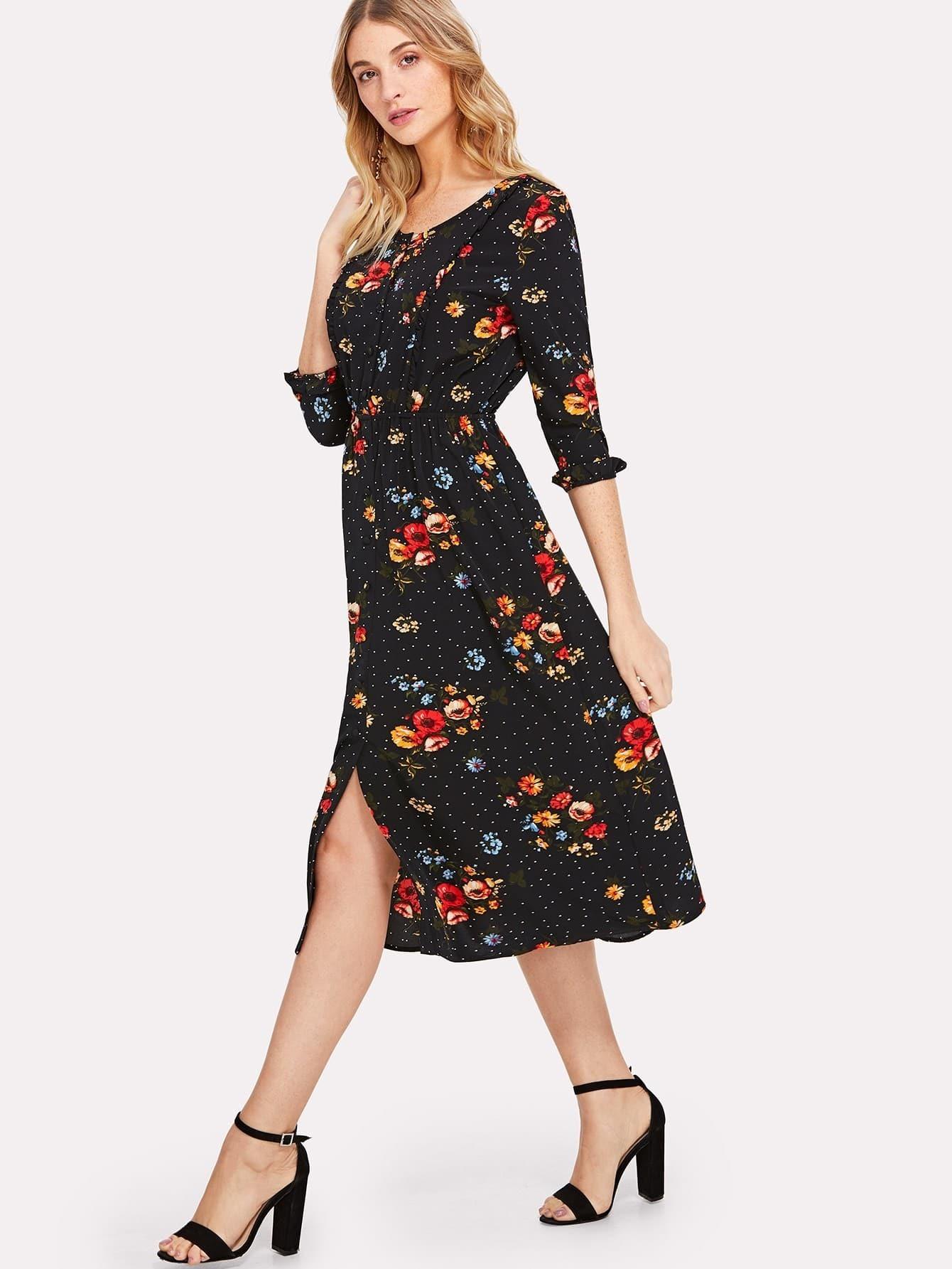 Button Up Frilled Floral Dress
