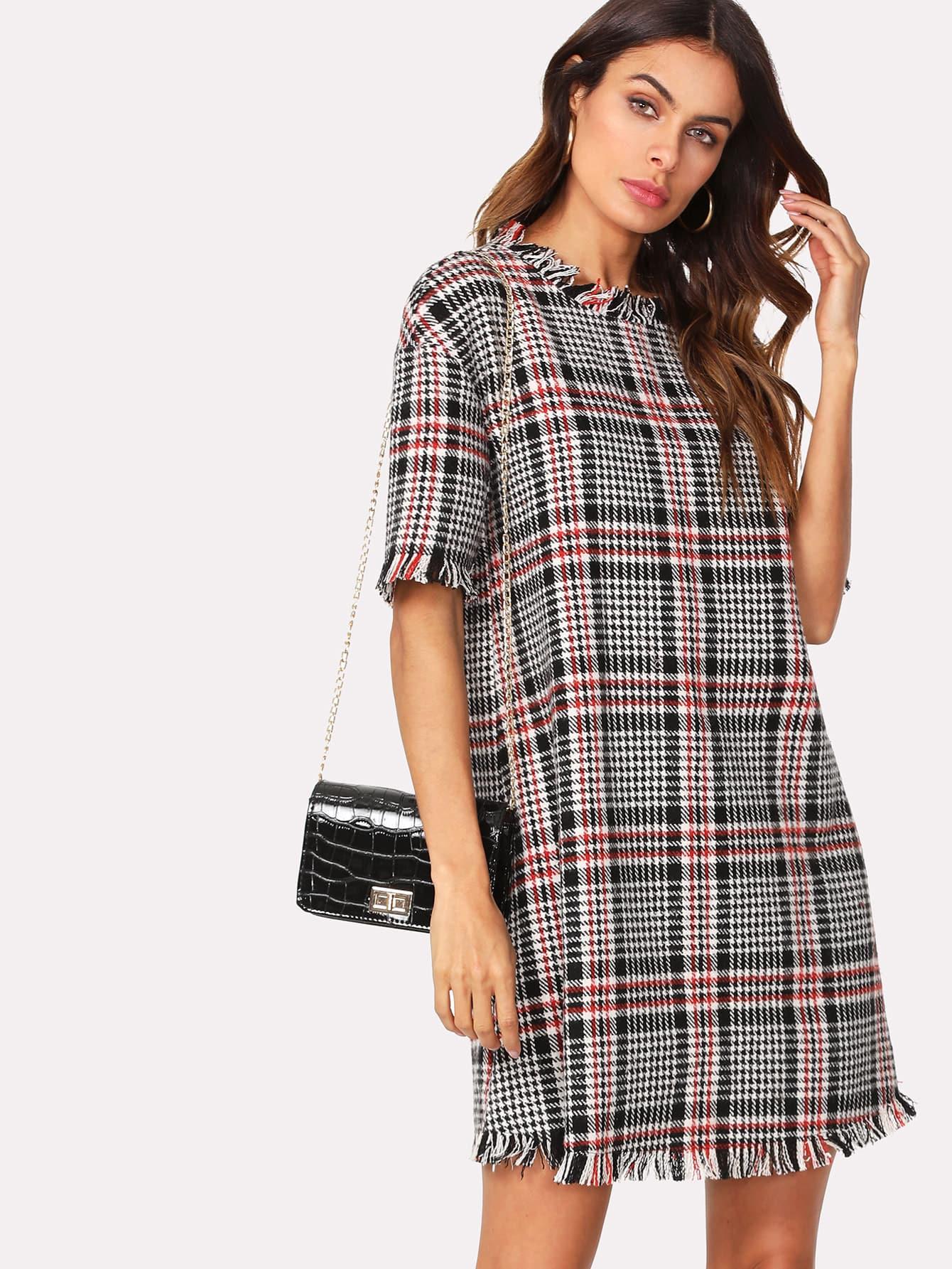 Frayed Trim Houndstooth Tweed Dress contrast pleated sleeve frayed hem tweed dress