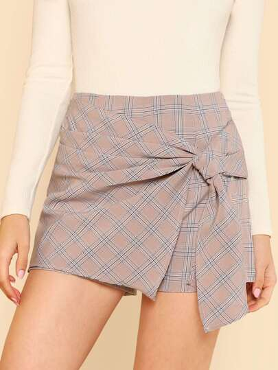 Glen Plaid Side Knot Wrap Skort BLUSH
