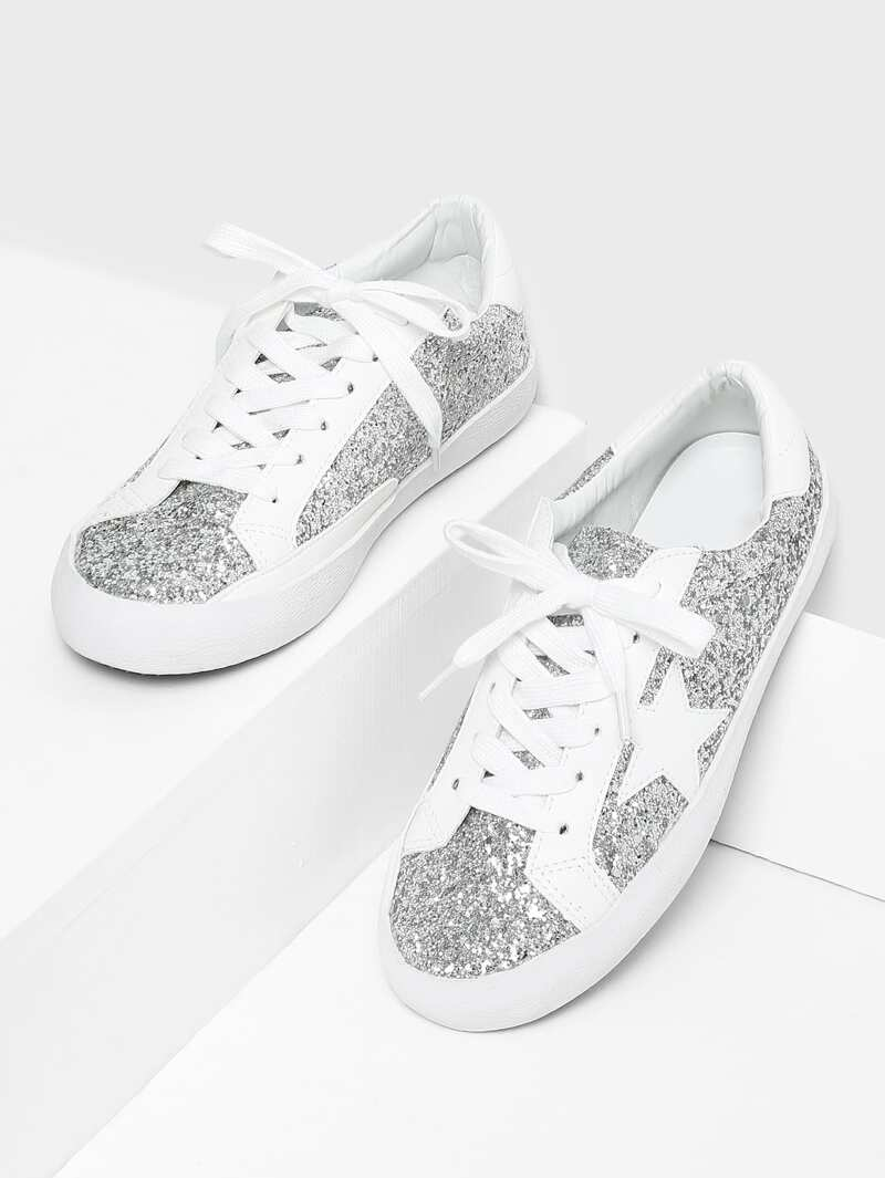 Star Patch Glitter Lace Up Sneakers, Silver