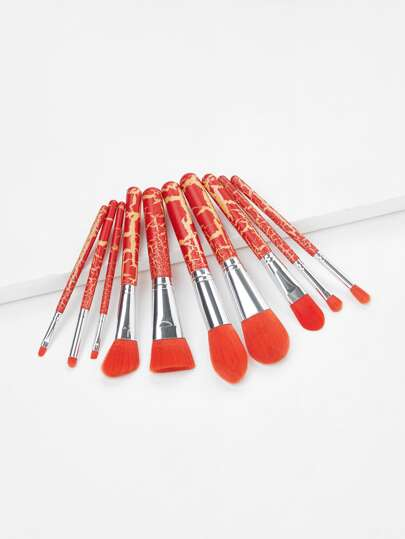 Crack Handle Makeup Brush Set 10Pcs