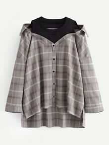 2 In 1 Oversized Plaid Blouse