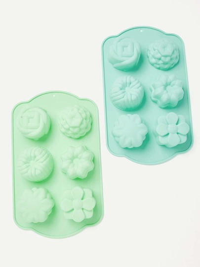 1Pc Random Color 6 Cavity Mixed Floral Shaped Baking Mould