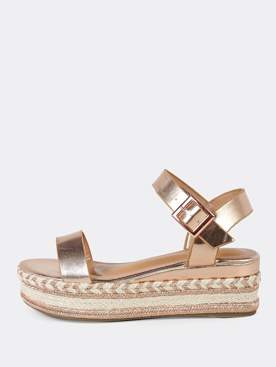 3cf887e9997 One Band Gold Trim Espadrille Platform Wedge Sandal ROSE GOLD |  MakeMeChic.COM