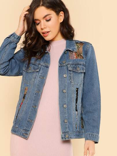 Denim Jacket with Floral Embroidered Mesh Panels BLUE