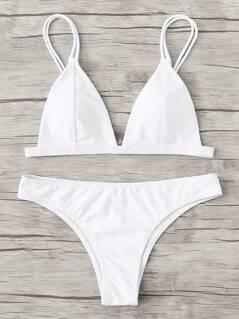 Adjust Strap Triangle Bikini Set
