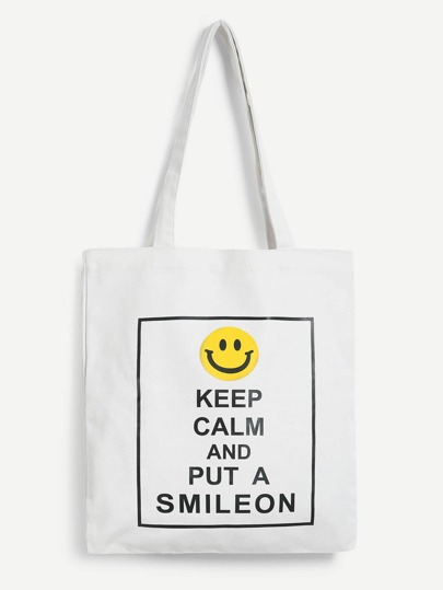 Emoji Print Shoulder Bag