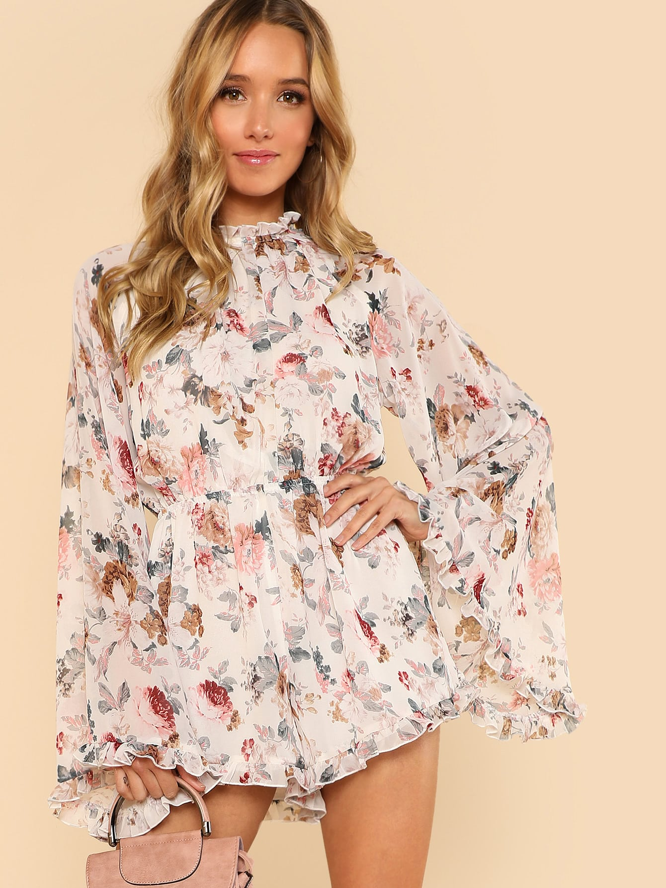 Exaggerated Bell Sleeve Frill Detail Romper tiered bell sleeve frill detail peplum blazer