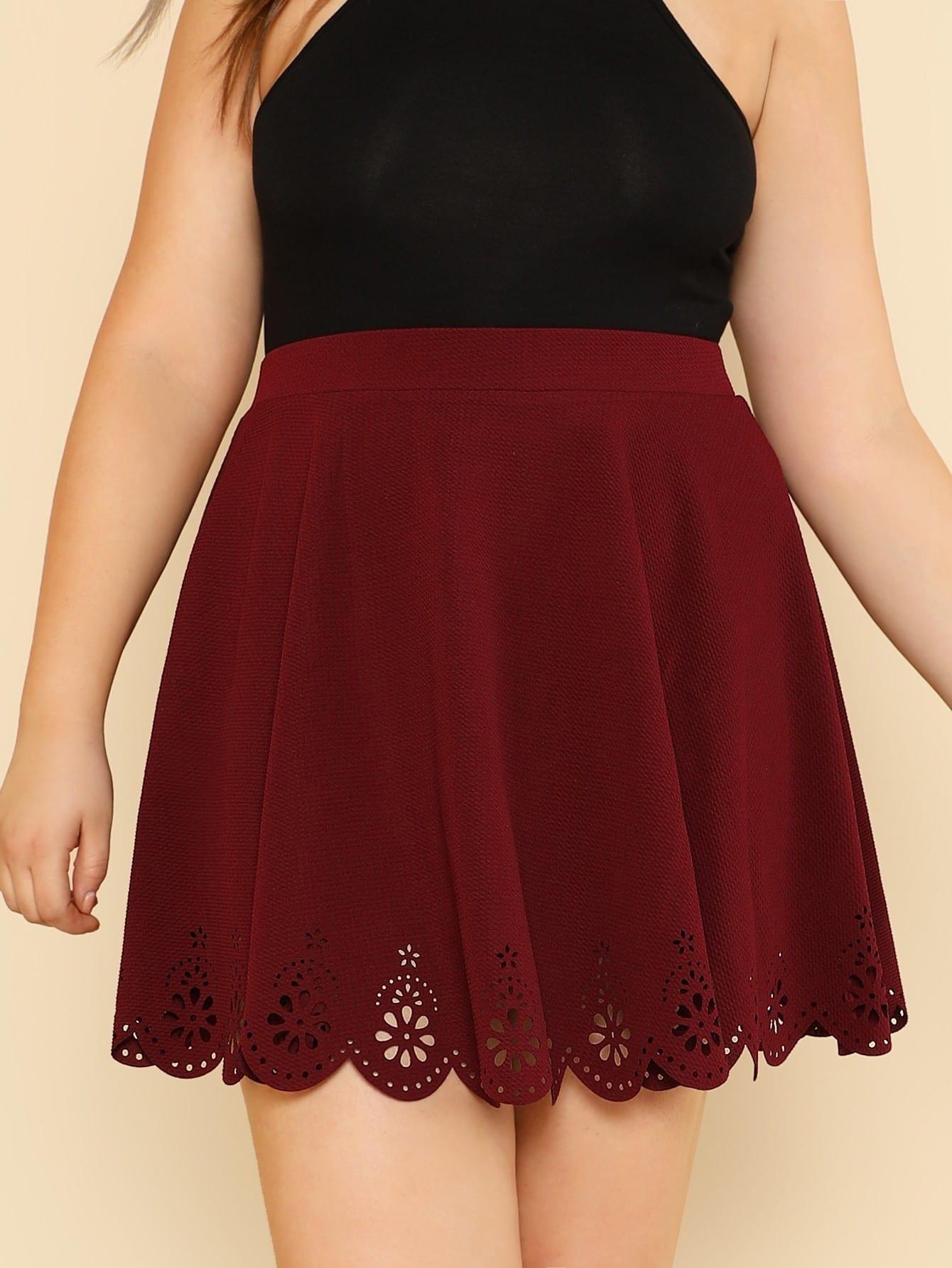 Scallop Laser Cut Flared Skirt asymmetric scallop hem flared pants