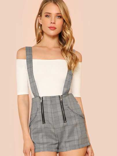 Glen Plaid Suspender Shorts with Double Zipper Detail BLACK