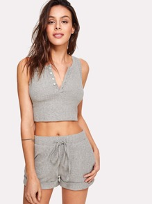 Button Front Crop Ribbed Top And Shorts Co-Ord ROMWE