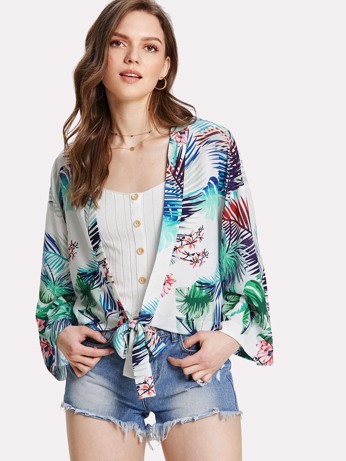 Tropical Print Knot Hem Kimono knot hem star print kimono