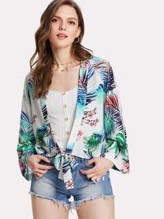 Tropical Print Knot Hem Kimono