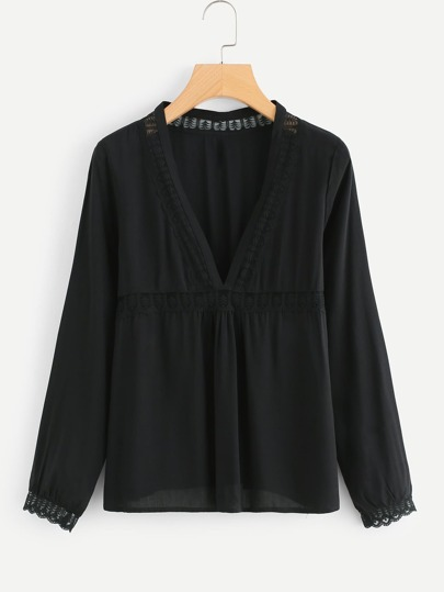 Lace Insert Plunging Smock Top