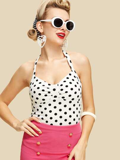 Ruched Detail Dot Halter Top