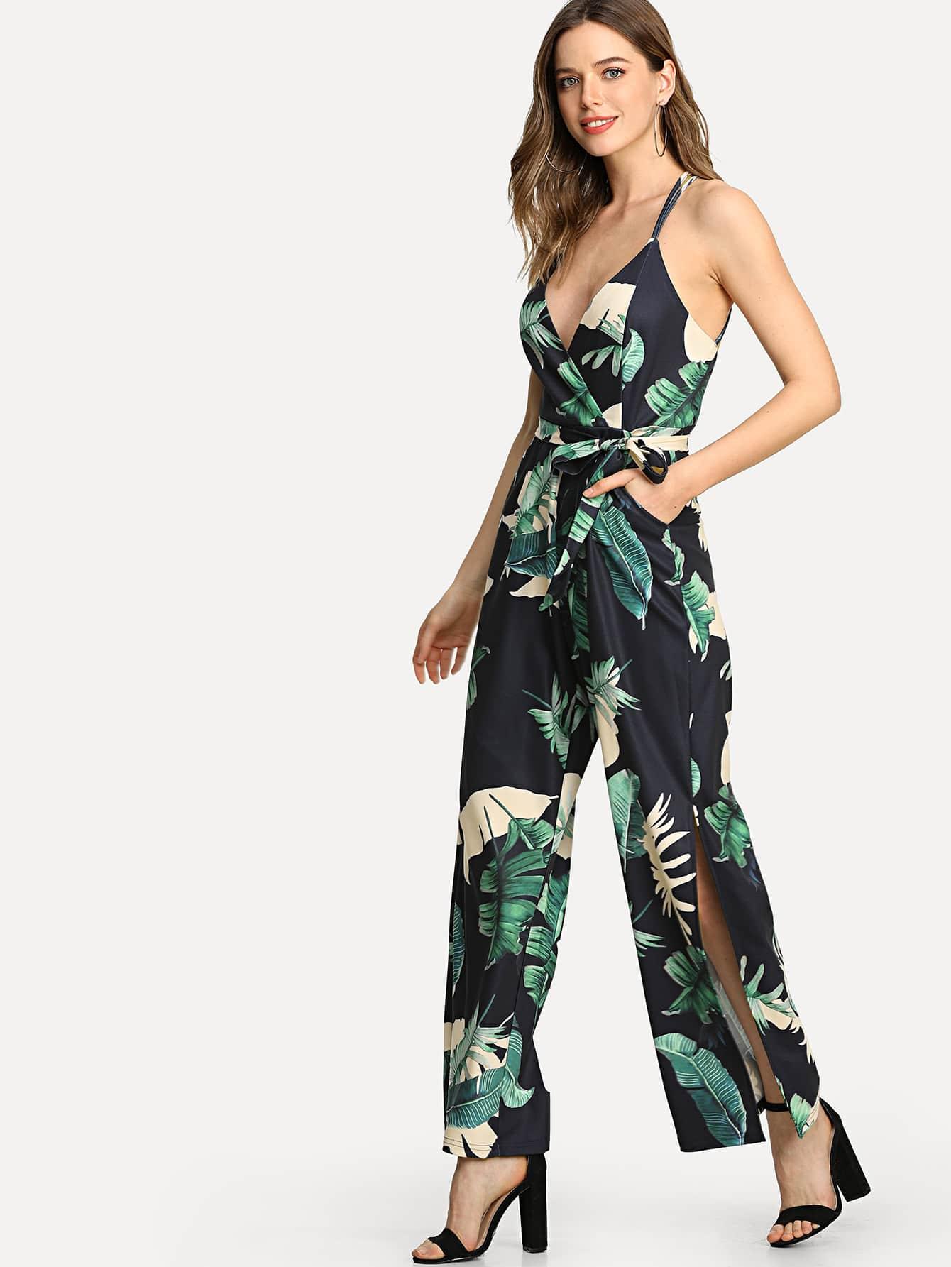 Overlap Front Tropical Cami Jumpsuit drawstring front cutout midriff tropical jumpsuit