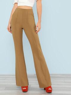 Flare Hem Solid Pants