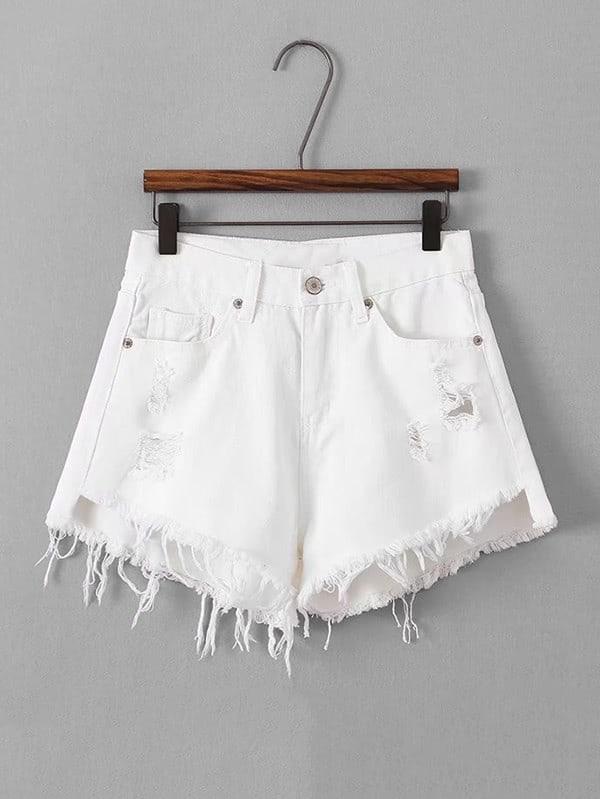 Destructed Frayed Hem Denim Shorts grommet lace up destructed denim jacket