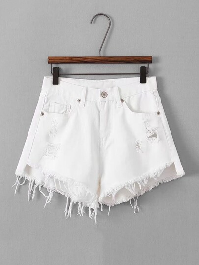 Destructed Frayed Hem Denim Shorts