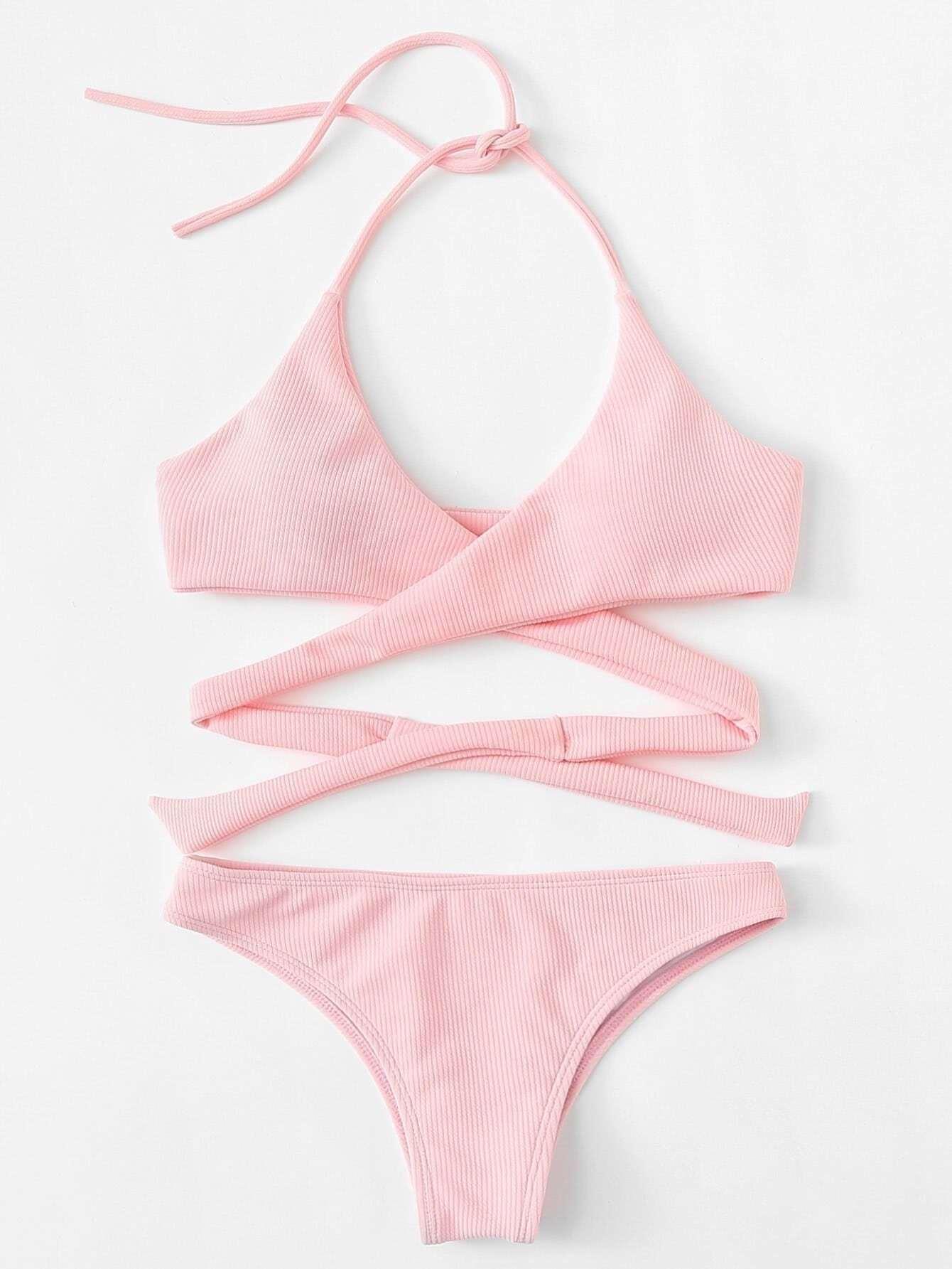 Cross Wrap Rib Knit Bikini Set
