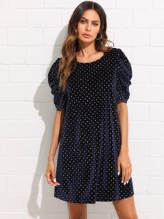 Puff Sleeve Gold Dot Velvet Dress