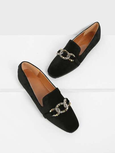 Jewelled Detail Almond Toe Flats