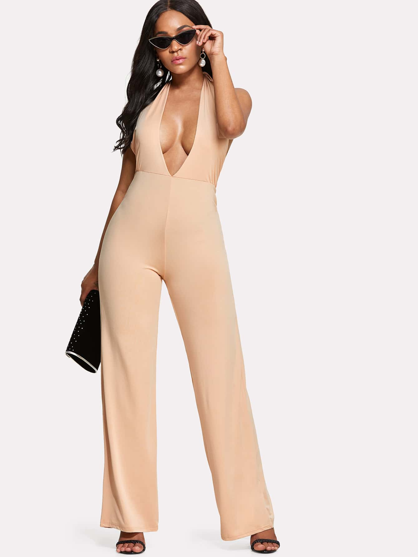 Deep V Neck Halter Wide Leg Jumpsuit luxcase защитная пленка для alcatel onetouch pixi 4 5010d антибликовая