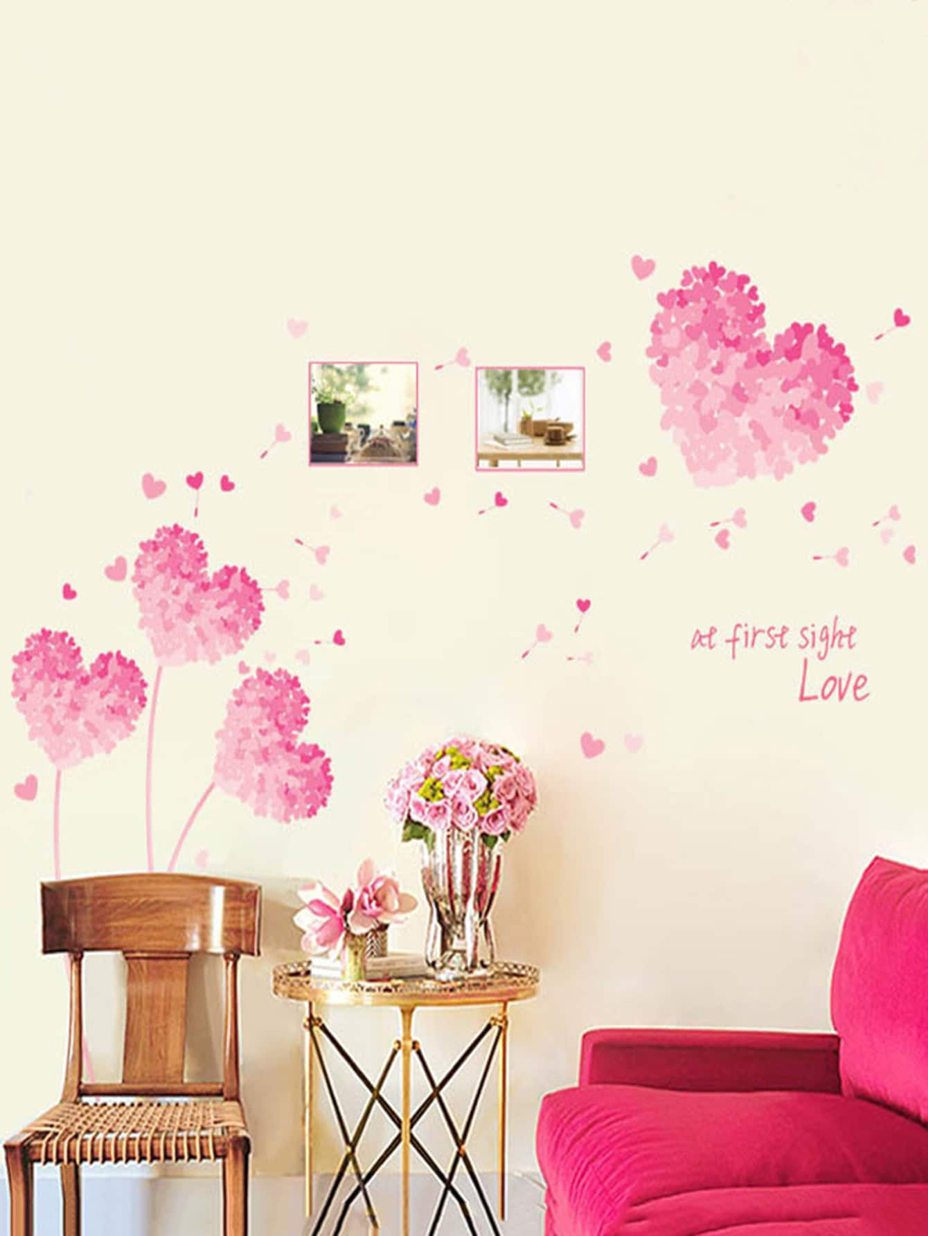 Pastel Heart Wall Decal family wall quote removable wall stickers home decal art mural