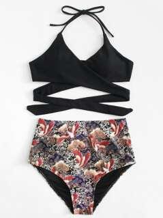 Crisscross Mixed Print Bikini Set