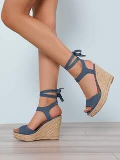 Faux Suede Ankle Wrap Espadrille Platform Wedge Sandal BLUE