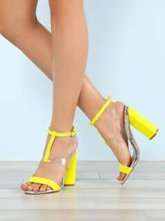 Mid T-Strap Chunky Heel with Clear Vamp NEON YELLOW