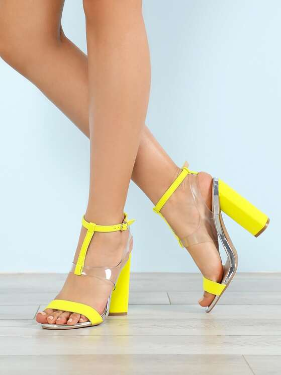 ba07afaae54 Mid T-Strap Chunky Heel with Clear Vamp NEON YELLOW