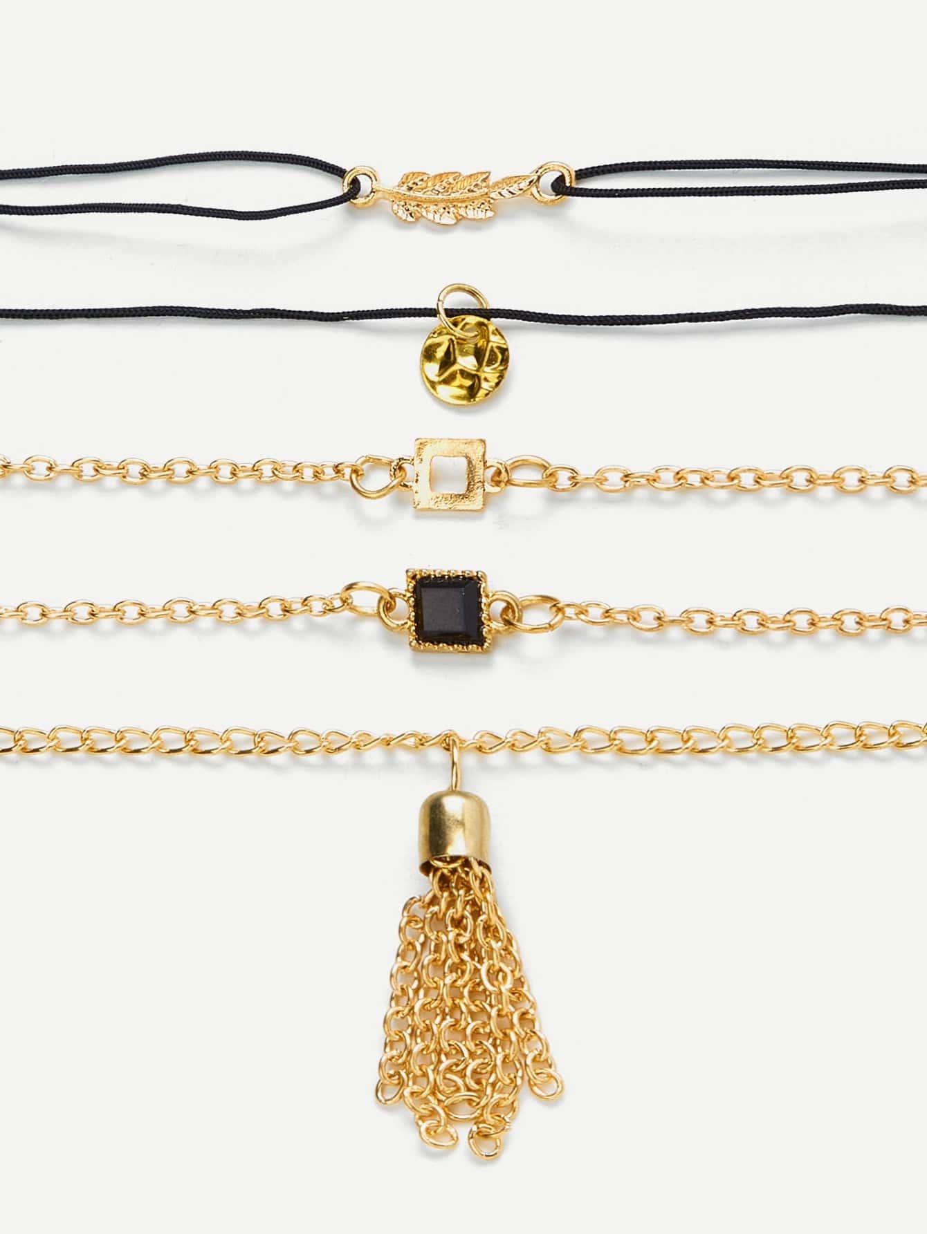 Tassel & Leaf Design Bracelet Set leaf opening bracelet