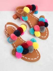 Ankle Strap Slide Sandals With Pom Pom